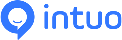 Intuo icon text blue